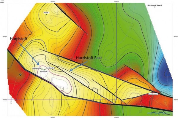 Hardstoft Field and Hardstoft East reservoir depth map. Source: Blackwatch Petroleum Services Limited, Upland Resources