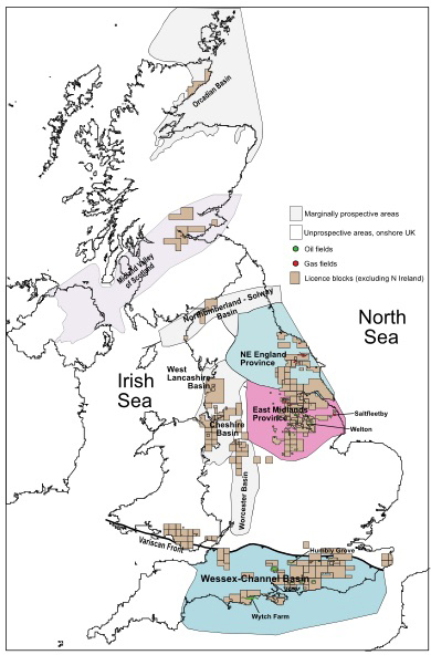 Prospective onshore sedimentary basins, illustrating significant oil & gas fields and discoveries. Source: BGS, DECC